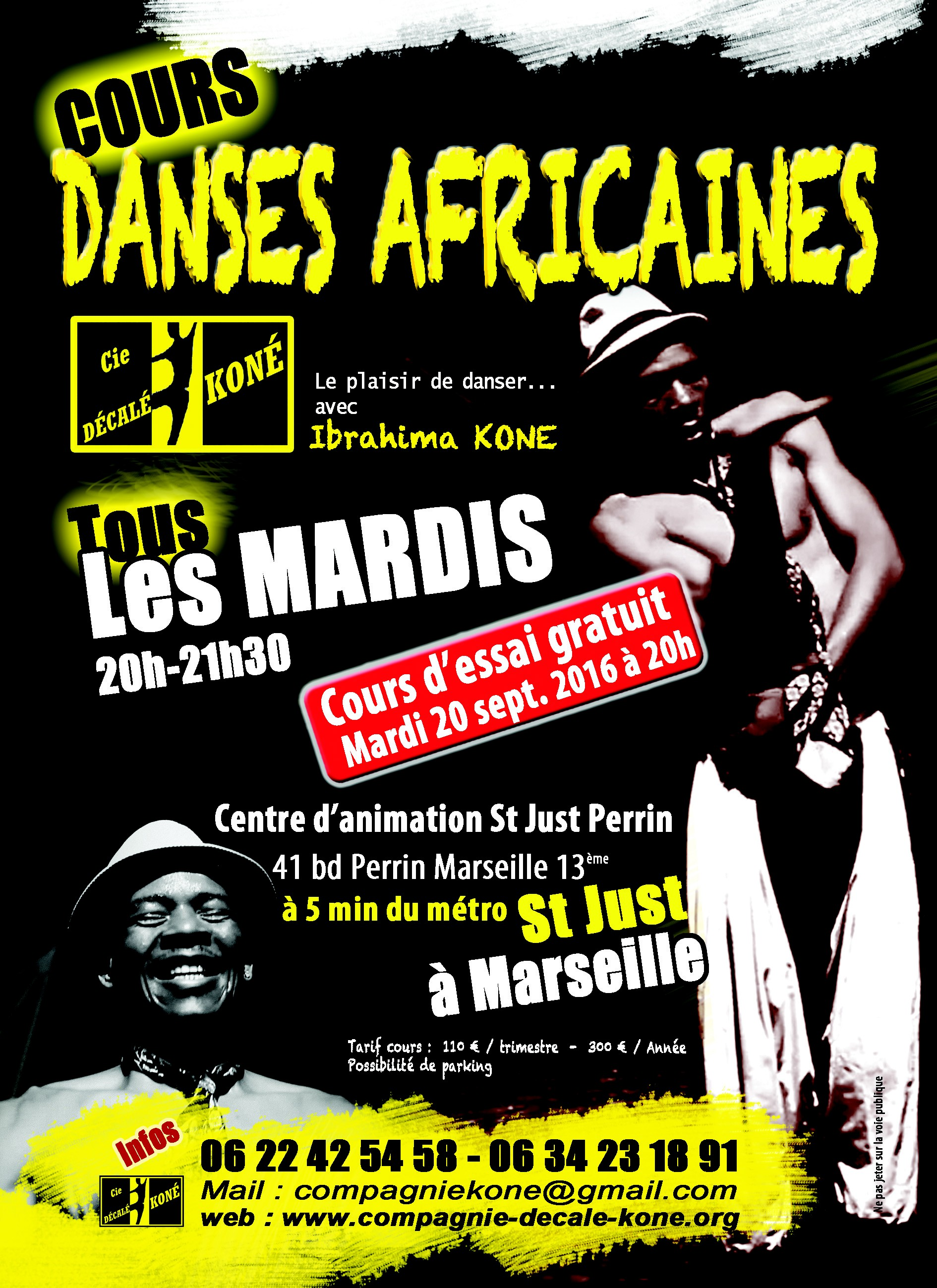 Cours danses africaines avec Ibrahima KONE..